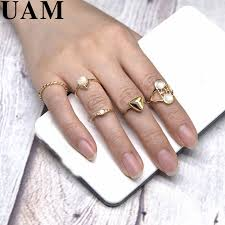 midi rings set uam 5pcs 2017 summer gold color midi rings set women
