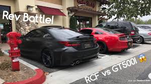 lexus rc f hre brutal rev battle shelby gt500 vs lexus rcf youtube