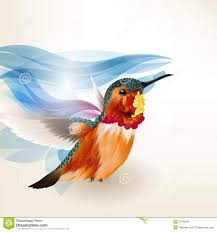 abstract beautiful vector background with realistic humming bird