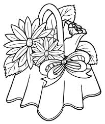 sketch flowers and basket flower vase coloring page 50 state