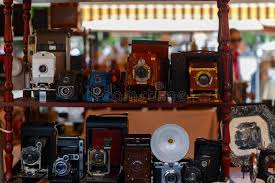 cameras and other vintage things for sale in barcelona editorial