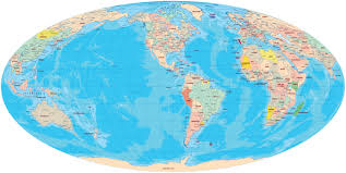 Antarctica On World Map by World Mollweide Projection America