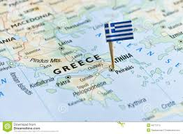 Delphi Greece Map by Greece Flag Pin On Map Stock Photo Image 48773713