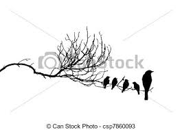 vector silhouette of the birds on branch vectors search clip