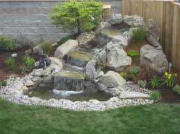 Small Water Ponds Backyard Adorable Waterfall Ideas For Backyard Corner Beside Wooden Fence