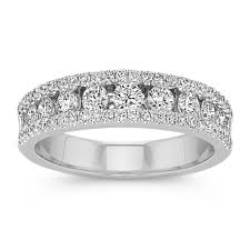channel set wedding band diamond channel set wedding band in 14k white gold shane co