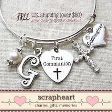 Goddaughter Charm First Holy Communion Bracelet For Girls Any Name Gift Box For