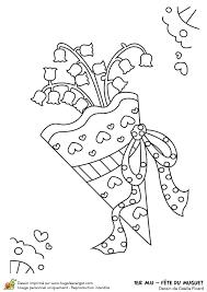 Dessin à colorier de brins de muguet pour le 1er mai dans une pochette