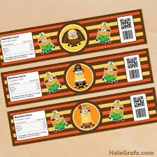 thanksgiving labels printable thanksgiving minions water bottle labels
