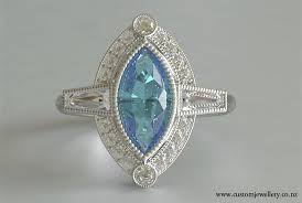 aquamarine marquise baguette diamond art deco ring new zealand