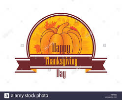 happy thanksgiving day celebratory banner with pumpkin and ribbon