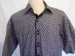bertigo mens casual dress shirt short sleeve pink square size 7