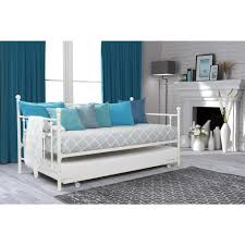Daybed With Trundle And Mattress Dhp Manila White Trundle Day Bed 4024159 The Home Depot