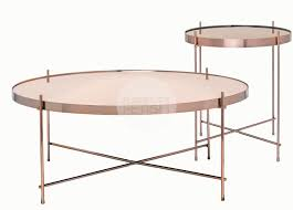 round coffee table u0026 side table brushed copper