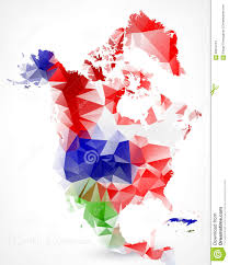 Map Of North America Countries by Abstract Polygonal Geometric Map Of North America Stock Vector