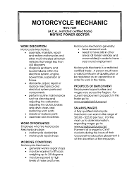 Mechanic Job Description Resume by Motorcycle Mechanic Resume Samples Xpertresumes Com