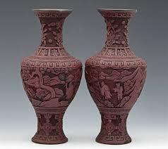 Red Lacquer Vase Cinnabar Vases 18 19th C Da1402077 Second Hand Antiques U0026 Fine Art