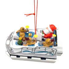 santa reindeer pontoon boat coastal ornament