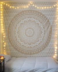 blog 50 bedroom decorating idea with tapestry canopy and lights