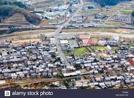 japanese town river running through the small town of bedous in the stock photo
