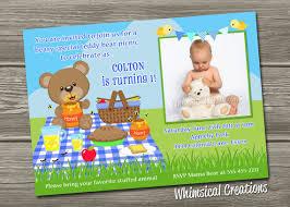 teddy bear picnic birthday invitation by whimsicalcreationspc