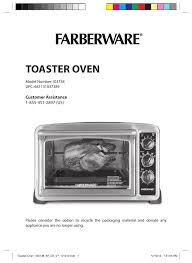 Farberware Toaster Oven Farberware 103718 Countertop Convection Oven User Manual 18 Pages