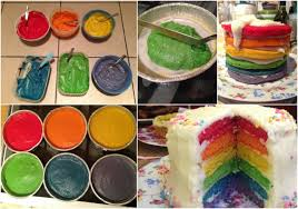 how to make a cake easy 6 layer rainbow cake step by step