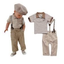 Trendy Infant Boy Clothes Baby Boy Toddler Clothes Strips Tops Pants Braces 3pcs Gentleman