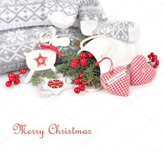 christmas background with red white jewelry in the scandinavian