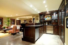 contemporary home basement bar ideas with dark wooden bar table