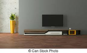 tv stand with concrete wall 3d design rendering tv stand clip