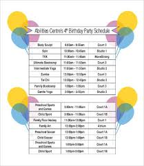 party schedule template 12 free word pdf documents download