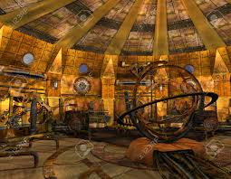 3d rendering interior view of a time machine stock photo picture