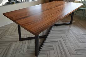 wood table with metal legs wooden top and metal leg dining table simple modern design buy with