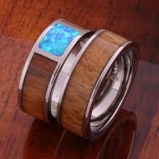 wood rings wedding 8mm hawaiian koa wood and opal inlaid titanium wedding