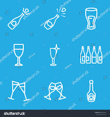 champagne bottle outline wine icons set set 9 wine stock vector 634269764 shutterstock