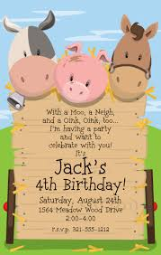 farm animals birthday party invitations boy jonathan u0027s 3rd
