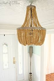 Simple Lighting Design Decor Captivating White Wood Stained Beaded Chandelier Round Jute