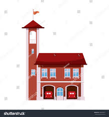 house with tower fire station tower icon cartoon style stock vector 445638907
