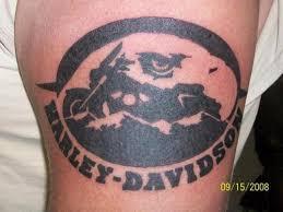 black ink harley davidson bike tattoo design photos pictures