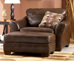 living room chairs and ottomans brown leather oversized living room chair with pillow and ottoman