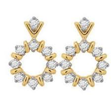 real gold earrings avsar real gold and diamond traditional shape earring ave036