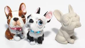 boston terrier 3 pcs unpainted figurine ornament d i y crafts
