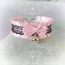 choker necklace pink images Kitten pet play collar bdsm ddlg choker necklace pink black lace bow jpg