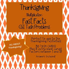 cgi math task cards thanksgiving multiplication fast facts tpt