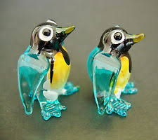tiny glass turquoise penguins penguins with