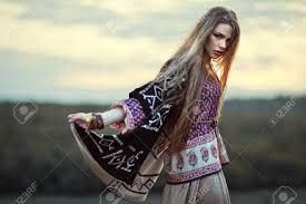 boho fashion beautiful hippie girl outdoors at sunset boho fashion style stock