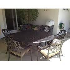 round cast aluminum patio dining table