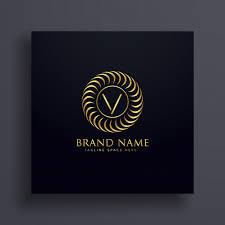 luxury letter v logo concept design in golden color vector free