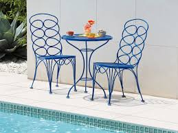 Iron Bistro Table Set Round Blue Wrought Iron Bistro Table Added By Double Carving